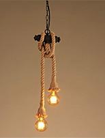 billiga -2-kopps rustik metall vattenrör hampa rep hängande ljus vardagsrum matsal min ljuskrona