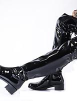 Недорогие -Жен. Fashion Boots Синтетика Зима На каждый день / Английский Ботинки На толстом каблуке Сапоги выше колена Черный / Для вечеринки / ужина