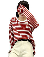 abordables -t-shirt femme en coton - col rond rayé