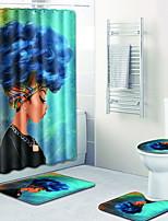 Недорогие -1 комплект Мультяшная тематика Коврики для ванны 100 г / м2 полиэфирный стреч-трикотаж Креатив нерегулярный Ванная комната Очаровательный