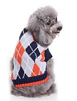 baratos -Cachorros Súeters Roupas para Cães Tingido / Xadrez Café / Azul Claro Terylene Ocasiões Especiais Para animais de estimação Unisexo Pontos e Xadrez / Casual