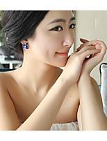 Недорогие -Жен. Классический Серьги-гвоздики Серьги-кольца - корейский Темно-синий Назначение День рождения Валентин