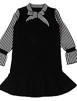 baratos -Infantil Para Meninas Listrado / Estampa Colorida / Retalhos Manga Longa Vestido