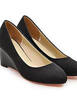 baratos -Mulheres Sapatos Confortáveis Couro Ecológico Inverno Saltos Salto Plataforma Dourado / Preto / Prata