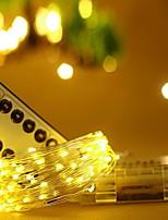 Недорогие -10 м Гирлянды 100 светодиоды Тёплый белый Декоративная Аккумуляторы AA 1 комплект