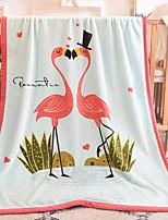 baratos -flanela flamingo, cobertores geométricos de algodão / poliéster com estampa reativa