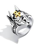 billiga -Herr Guld Skulptur Statement Ring Ring - Titanstål Kors, Totemserier Punk, Trendig, Rock 7 / 8 / 9 / 10 / 11 Silver Till Street Bar / 8pcs