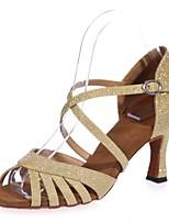 abordables -Femme Chaussures Latines Matière synthétique Sandale Boucle Talon Bobine Chaussures de danse Marron / Rouge / Bleu