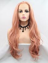 Недорогие -Синтетические кружевные передние парики Естественные кудри Розовый Стрижка каскад 130% Человека Плотность волос Искусственные волосы 26 дюймовый Женский Розовый Парик Жен. Средняя длина Лента спереди