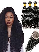 Недорогие -3 комплекта с закрытием Евро-Азиатские волосы / Индийские волосы Крупные кудри Необработанные / Натуральные волосы Подарки / Косплей Костюмы / Человека ткет Волосы 8-20 дюймовый Естественный цвет