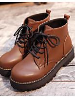 Недорогие -Жен. Комфортная обувь Полиуретан Наступила зима Ботинки На толстом каблуке Ботинки Черный / Коричневый