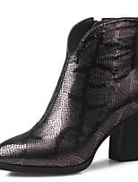 Недорогие -Жен. Fashion Boots Овчина Осень Ботинки На толстом каблуке Закрытый мыс Ботинки Серебряный