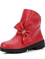 Недорогие -Жен. Fashion Boots Полиуретан Наступила зима На каждый день / Милая Ботинки На низком каблуке Круглый носок Ботинки Стразы / Бант Черный / Бежевый / Красный