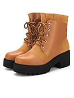 baratos -Mulheres Sapatos Confortáveis Couro Ecológico Outono & inverno Botas Salto Robusto Preto / Amarelo