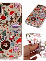 Недорогие -Кейс для Назначение Apple iPhone XR / iPhone XS Max Прозрачный / С узором Кейс на заднюю панель Рождество Мягкий ТПУ для iPhone XS / iPhone XR / iPhone XS Max