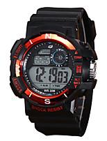 baratos -Homens Relógio Esportivo Digital 30 m Impermeável LCD Noctilucente Silicone Banda Digital Vintage Fashion Preta - Vermelho Verde Azul