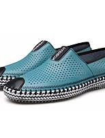 billiga -Herr Komfortskor Läder Sommar Ledigt Loafers & Slip-Ons Andningsfunktion Mörkblå / Gul / Ljusblå