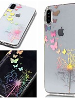 baratos -Capinha Para Apple iPhone XR / iPhone XS Max IMD / Transparente / Estampada Capa traseira Borboleta / dandelion Macia TPU para iPhone XS / iPhone XR / iPhone XS Max