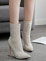 Недорогие -Жен. Fashion Boots Синтетика Наступила зима Английский Ботинки На шпильке Сапоги до середины икры Лак Черный / Бежевый / Для вечеринки / ужина
