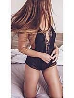 baratos -Mulheres Super Sexy Conjunto Roupa de Noite - Renda / Fenda Sólido / Decote em V Profundo
