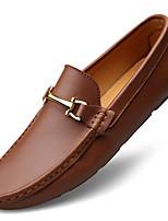Недорогие -Муж. Кожаные ботинки Кожа Осень На каждый день / Английский Мокасины и Свитер Массаж Черный / Кофейный / Коричневый