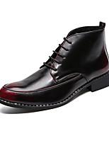 Недорогие -Муж. Fashion Boots Искусственная кожа Наступила зима На каждый день Ботинки Ботинки Контрастных цветов Черный / Коричневый / Красный