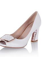 Недорогие -Жен. Комфортная обувь Овчина Весна Обувь на каблуках Гетеротипическая пятка Белый / Черный / Розовый
