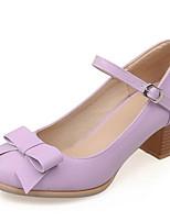 Недорогие -Жен. Комфортная обувь Полиуретан Весна Обувь на каблуках На толстом каблуке Белый / Лиловый / Синий