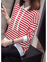 abordables -Sweat à capuche long à manches longues pour femmes - rayé avec capuche