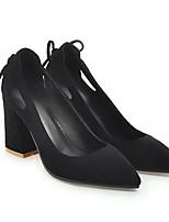 Недорогие -Жен. Комфортная обувь Полиуретан Весна Обувь на каблуках На толстом каблуке Черный / Бежевый / Желтый