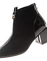 Недорогие -Жен. Fashion Boots Замша Зима На каждый день Ботинки На толстом каблуке Сапоги до середины икры Черный / Хаки