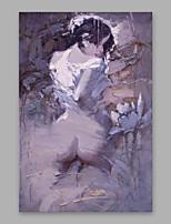 abordables -Peinture à l'huile Hang-peint Peint à la main - Personnage Moderne Inclure cadre intérieur / Toile tendue