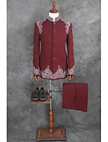 billiga -Mönstrad Skräddarsydd passform Bomull / Polyester Kostym - Trubbig Singelknäppt 1 Knapp