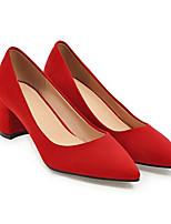 Недорогие -Жен. Балетки Замша Весна Обувь на каблуках На толстом каблуке Желтый / Красный / Розовый