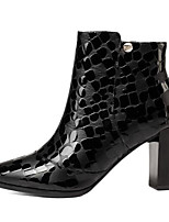 Недорогие -Жен. Fashion Boots Наппа Leather Зима Ботинки На толстом каблуке Закрытый мыс Ботинки Черный / Верблюжий