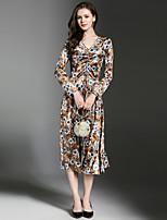 Недорогие -Жен. Элегантный стиль А-силуэт Платье - Цветочный принт, Рюши Средней длины