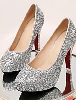 baratos -Mulheres Sapatos Confortáveis Lona Primavera Sapatos De Casamento Salto Agulha Dourado / Prata / Vermelho