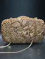 Недорогие -Жен. Мешки Сплав Вечерняя сумочка Кристаллы / С отверстиями Сплошной цвет Цвет шампанского