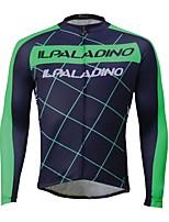 Недорогие -ILPALADINO Муж. Длинный рукав Велокофты - Зеленый Мода Велоспорт Джерси Верхняя часть, Флисовая подкладка Сохраняет тепло Ультрафиолетовая устойчивость, Зима, Эластан