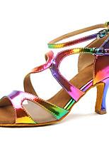 abordables -Femme Chaussures Latines Faux Cuir Talon Fantaisie Talon Bobine Chaussures de danse Arc-en-ciel