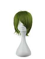 Недорогие -Парики из искусственных волос Прямой Ассиметричная стрижка Искусственные волосы 20 дюймовый Молодежный Зеленый Парик Муж. Короткие Без шапочки-основы флуоресцентный зеленый