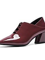 Недорогие -Жен. Балетки Микроволокно Лето Обувь на каблуках На толстом каблуке Черный / Винный