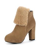 Недорогие -Жен. Fashion Boots Замша Осень Ботинки На толстом каблуке Закрытый мыс Ботинки Черный / Желтый / Военно-зеленный