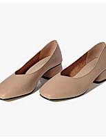 Недорогие -Жен. Комфортная обувь Полиуретан Осень Обувь на каблуках На толстом каблуке Коричневый / Миндальный