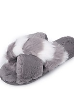 Недорогие -Жен. Комфортная обувь Микроволокно Зима Тапочки и Шлепанцы На плоской подошве Черный / Серый / Розовый