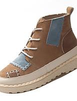Недорогие -Жен. Комфортная обувь Полиуретан Осень На каждый день Ботинки На плоской подошве Круглый носок Ботинки Бежевый / Серый / Хаки