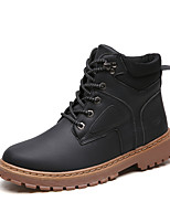 Недорогие -Муж. Армейские ботинки Наппа Leather Зима На каждый день Ботинки Сохраняет тепло Ботинки Черный / Серый / Желтый