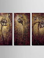 abordables -Peinture à l'huile Hang-peint Peint à la main - Abstrait / A fleurs / Botanique Moderne Inclure cadre intérieur / Trois Panneaux / Toile tendue
