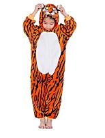 abordables -Enfant Pyjamas Kigurumi Tiger Combinaison de Pyjamas Flanelle Orange Cosplay Pour Garçons et filles Pyjamas Animale Dessin animé Fête / Célébration Les costumes / Rayure