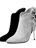 Недорогие -Жен. Комфортная обувь Овчина Весна лето Обувь на каблуках На плоской подошве Черный / Светло-серый